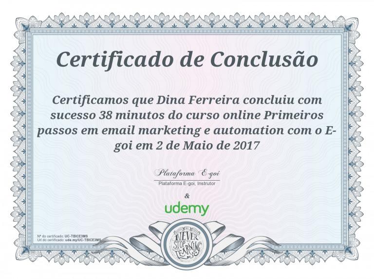 portfolio 27/47  - Certificado em Email Marketing e Automation - E-Goi
