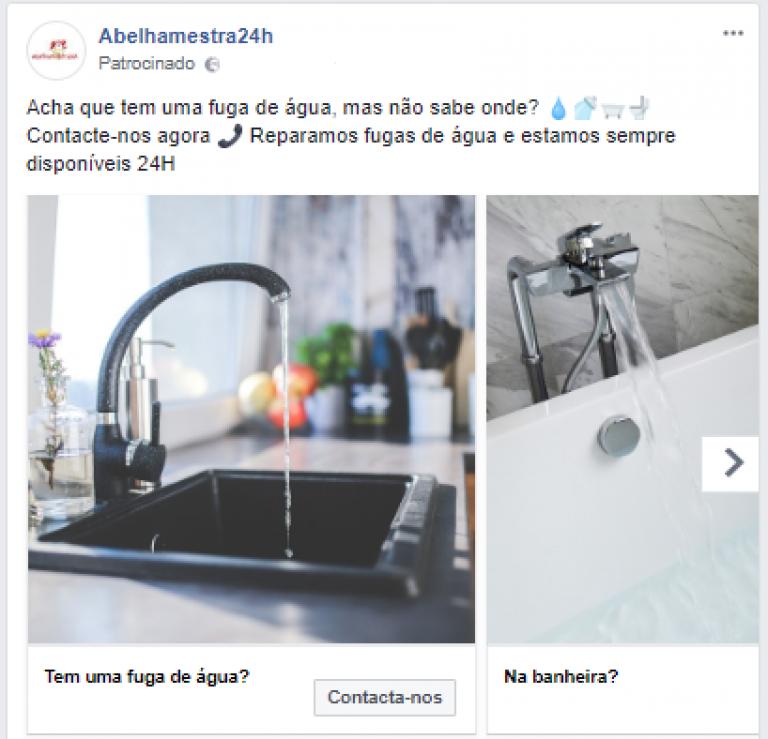 portfolio 15/47  - Campanha de Carrossel no Facebook - Empresa de Canalização