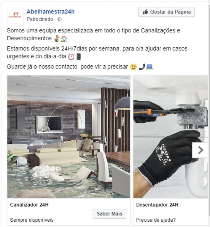 portfolio 14/47  - Campanha de Carrossel no Facebook - Empresa de Canalização