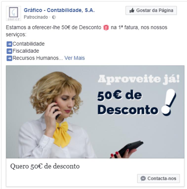 portfolio 12/47  - Campanha de Facebook  - Gráfico Contabilidade SA