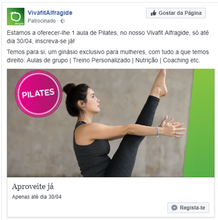 portfolio 11/47  - Campanha de Facebook - Vivafit Alfragide