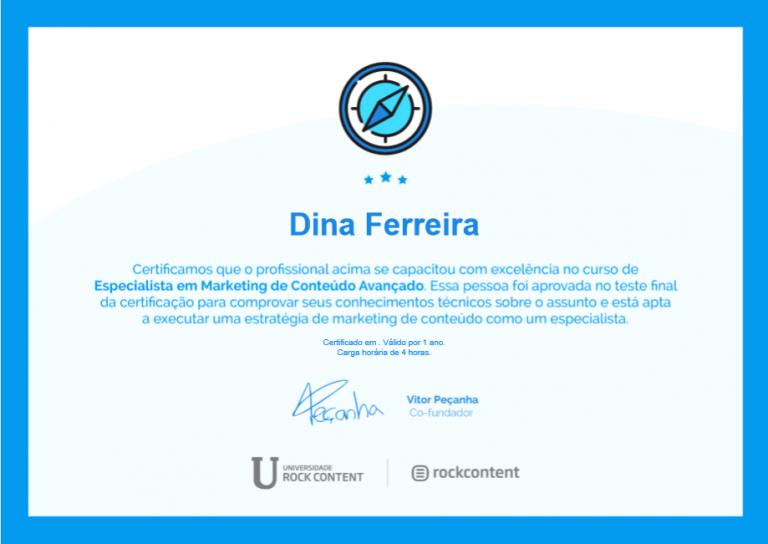portfolio 5/47  - Certificado de Especialista de Marketing de Conteúdo Avançado
