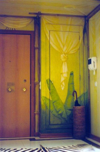 portfolio 2/37  - Hall entrada pintura de tenda e folhas exóticas