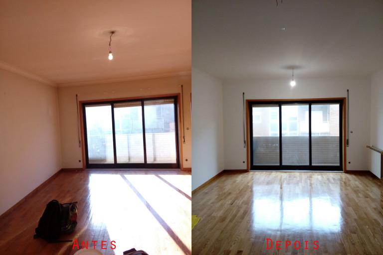 portfolio 41/119  - Reparação e  pintura de tetos e paredes com materiais da Cin mais raspagem e envernizamento de chão parquet