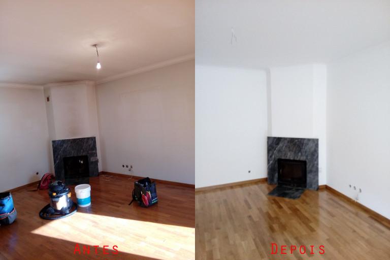 portfolio 42/119  - Paredes e tetos com fumo de lareira e tabaco: Reparação e pintura de tetos e paredes com materiais da Cin mais raspagem e envernizamento de chão parquet