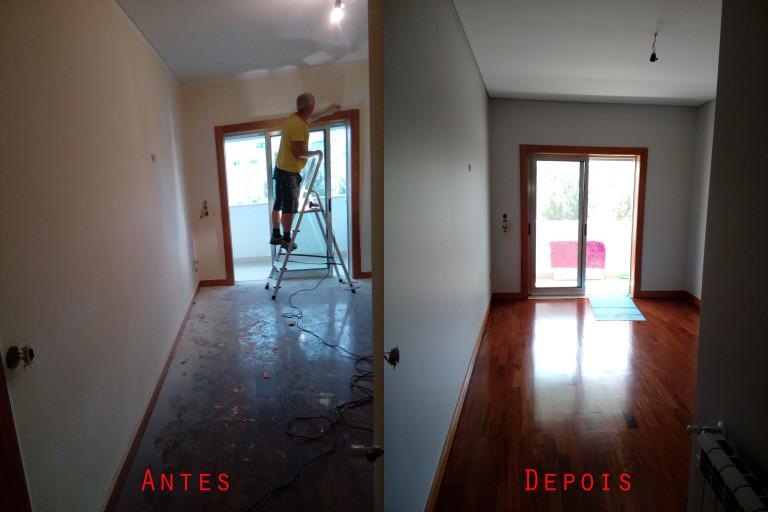 portfolio 59/119  -  Reparação e pintura de tetos e paredes com materiais da Cin mais raspagem e envernizamento de chão parquet
