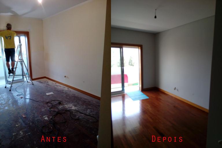 portfolio 58/119  -  Reparação e pintura de tetos e paredes com materiais da Cin mais raspagem e envernizamento de chão parquet