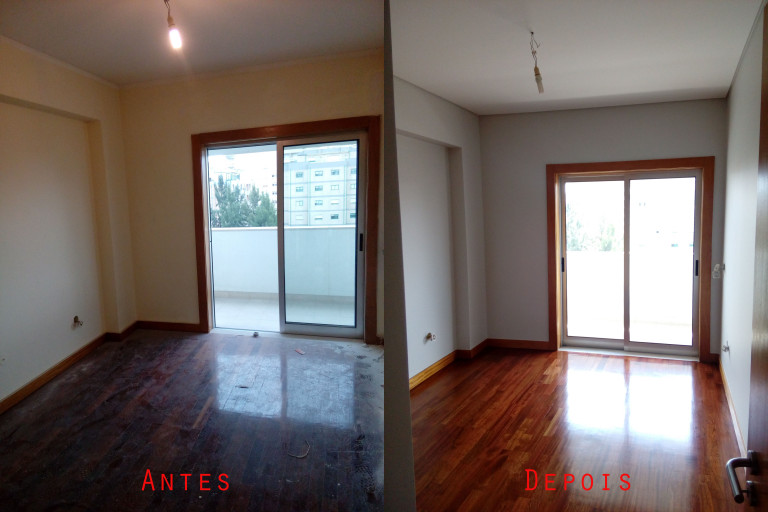 portfolio 57/119  -  Reparação e pintura de tetos e paredes com materiais da Cin mais raspagem e envernizamento de chão parquet