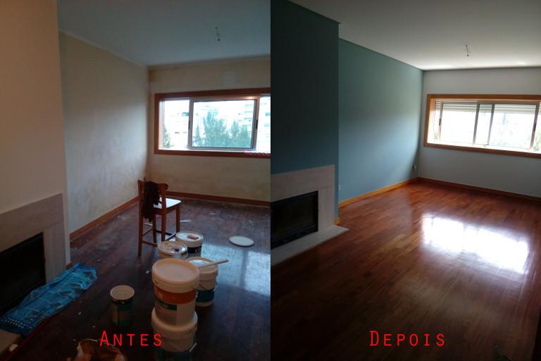 portfolio 56/119  -  Reparação e pintura de tetos e paredes com materiais da Cin mais raspagem e envernizamento de chão parquet