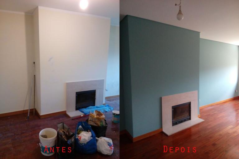 portfolio 55/119  -  Reparação e pintura de tetos e paredes com materiais da Cin mais raspagem e envernizamento de chão parquet