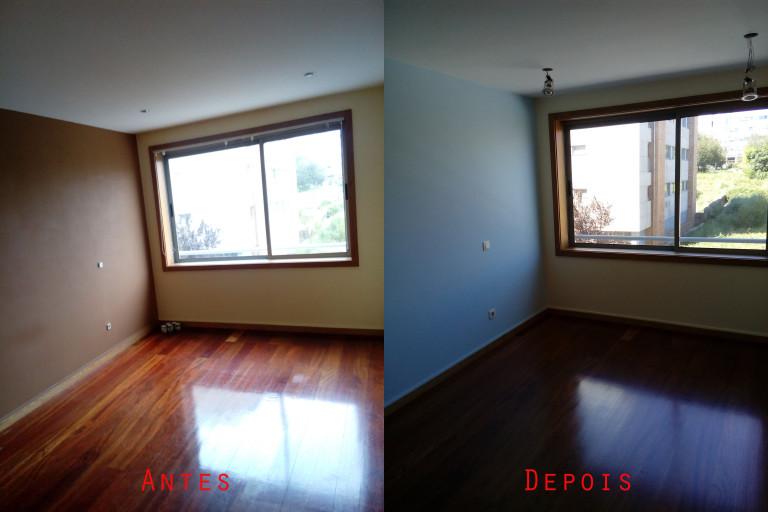 portfolio 65/119  -  Reparação e pintura de tetos e paredes com materiais da Cin mais raspagem e envernizamento de chão soalho maciço