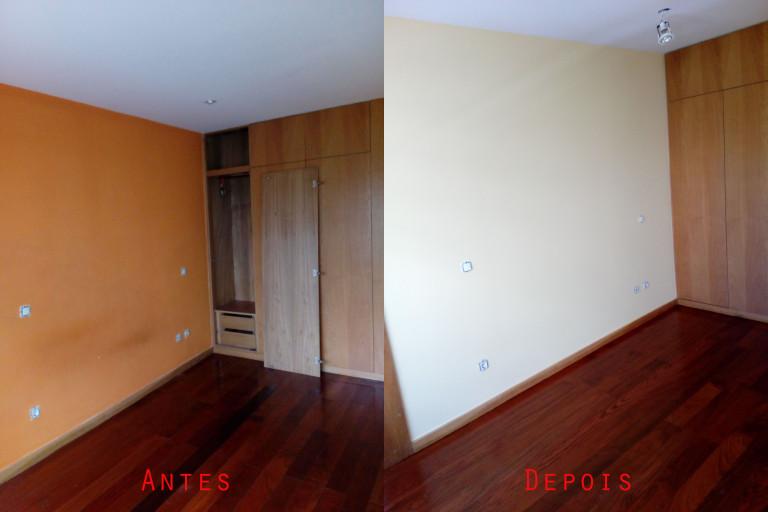 portfolio 64/119  -  Reparação e pintura de tetos e paredes com materiais da Cin mais raspagem e envernizamento de chão soalho maciço