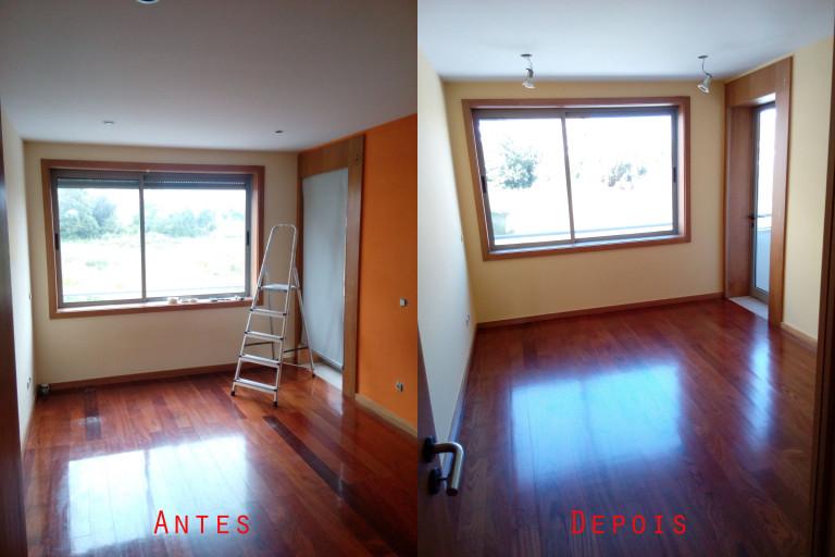 portfolio 63/119  -  Reparação e pintura de tetos e paredes com materiais da Cin mais raspagem e envernizamento de chão soalho maciço