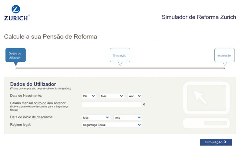 portfolio 10/10  - Aplicação Web. Simulador de reforma da Zurich.