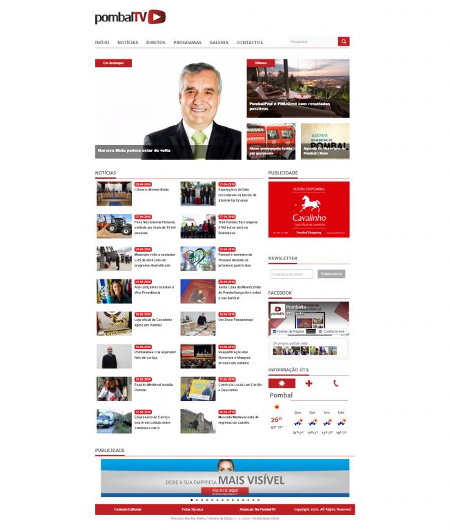 portfolio 4/10  - Website da Pombal TV