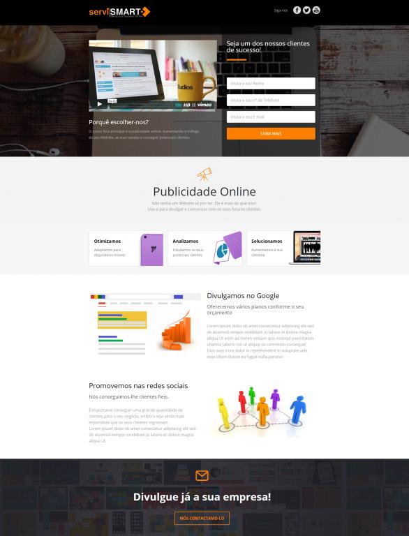portfolio 3/10  - Landing Page da Servismart com foco Marketing Digital