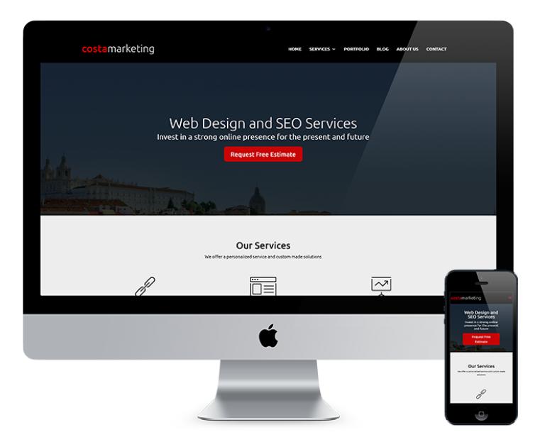 portfolio 5/7  - Os dois sites desenvolvidos para a Costa Marketing, tanto em inglês como em português, foram criados com o objetivo de transmitir uma mensagem e imagem profissional da nossa empresa, em constante crescimento.