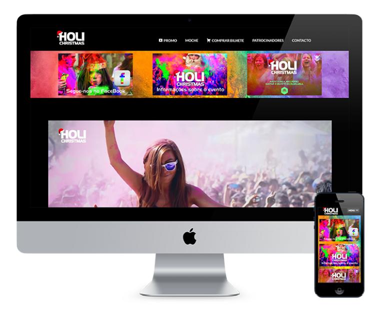 portfolio 3/7  - O site criado para a Holi Christmas foi desenhado com o objetivo de promover o cartaz da Holi Christmas, apresentar os principais sponsors do evento, e fazer a ligação com a bilheteira online.