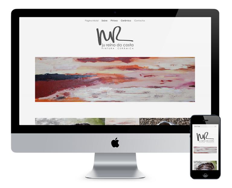 portfolio 2/7  - O site desenvolvido para a Ju Reino da Costa consistiu na criação de um design simples e minimalista, de acordo com as preferências da cliente, de forma a destacar o seu trabalho de pintura e cerâmica.