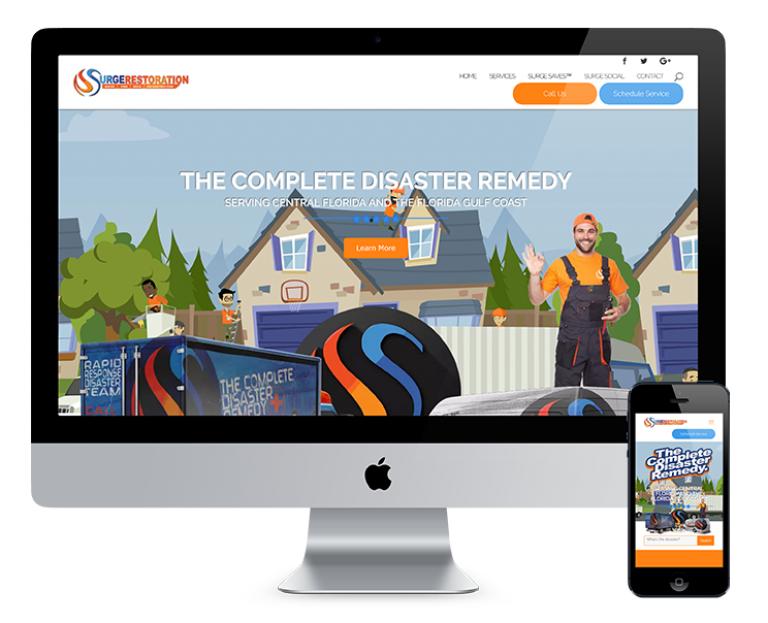 portfolio 7/7  - O projeto desenvolvido para a Surge Restoration Company foi realizado em parceria com a Max Surge Media, empresa de marketing americana. A Surge Restoration necessitava de um site profissional, mobile-friendly, com base no seu site antigo.