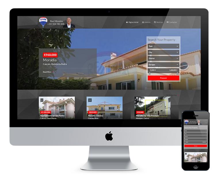 portfolio 1/7  - O projeto desenvolvido pela Costa Marketing para o site do consultor Raul Moreira consitiu na criação de um site que permitisse o carregamento fácil de imóveis e um local onde pudesse partilhar notícias e outras informações sobre o mercado.
