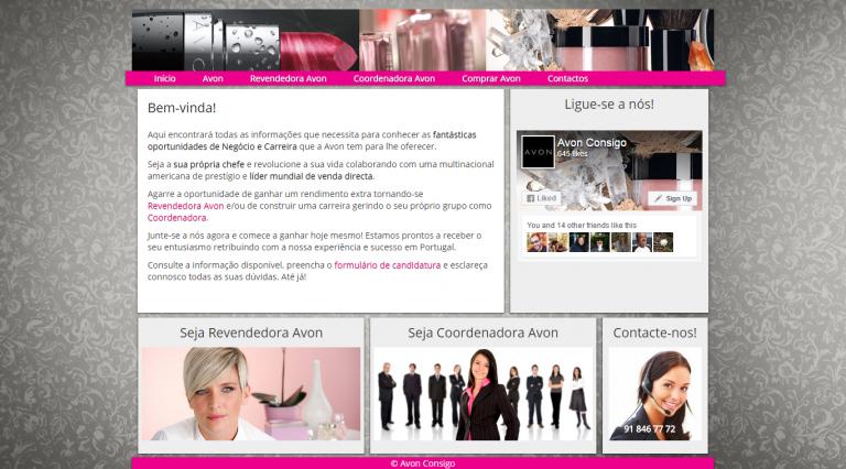 portfolio 4/4  - Website responsivo para uma equipa de recrutamento Avon