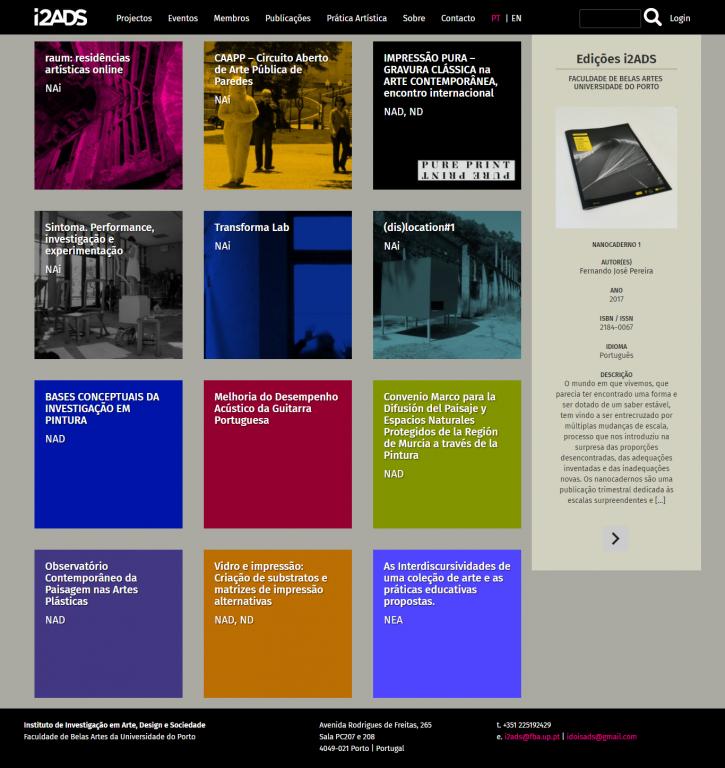 portfolio 2/4  - Renovação do site do Instituto de Investigação em Arte, Design e Sociedade