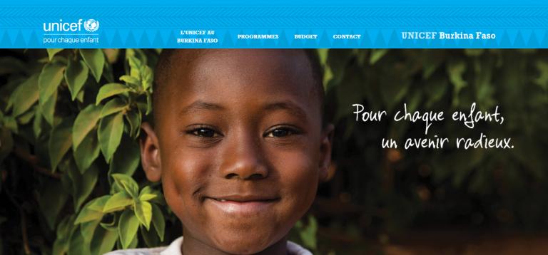 portfolio 1/4  - Web Design e Programação do novo site da Unicef Burkina Faso