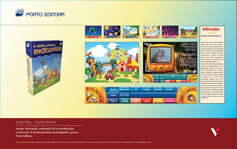 """portfolio 38/39  - Design, ilustração, animação 2D e coordenação criativa de CD/DVD Rom """"A minha primeira enciclopédia"""" para a Porto Editora"""