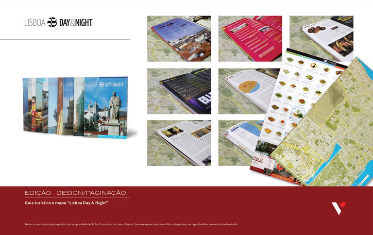 """portfolio 14/39  - Conceito, Design e paginação de Guia e mapa turisticos """"Lisboa Day & Night"""""""