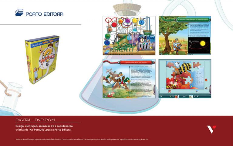 """portfolio 37/39  - Design, ilustração, animação 2D e coordenação criativa de CD/DVD Rom """"Os Porquês"""" para a Porto Editora"""