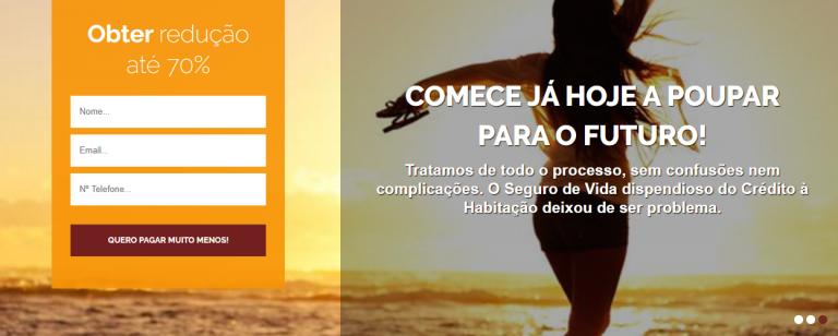 portfolio 2/9  - Desenvolvimento de Website para Mediador de Seguros, com a característica de ter o formulário de contacto em destaque (inserido no Slideshow da página inicial)
