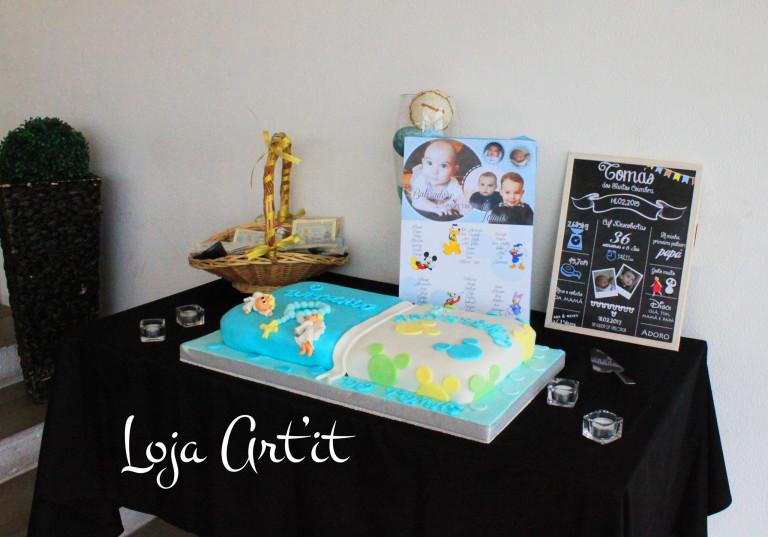portfolio 13/161  - bolo batismo/1ºaniversario, quadro chalkboard, marcador de mesas