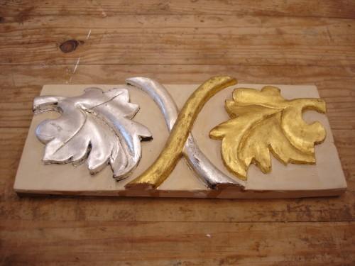 portfolio 3/9  - talha dourada- com folha de prata e de ouro