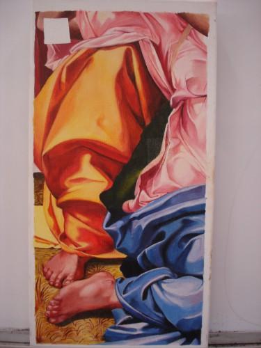 portfolio 2/9  - reintegração de uma pintura ( Miguel Ângelo) com a técnica pontilhismo - diferenciação