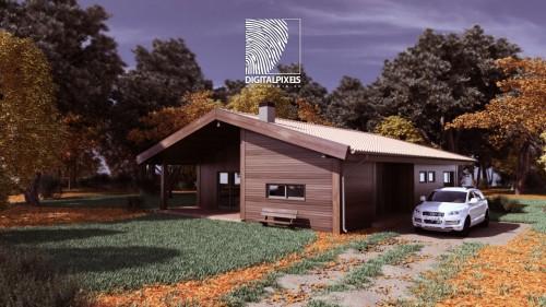 portfolio 12/51  - Visualização 3d Exterior Habitação Modular madeira