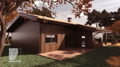 portfolio 13/51  - Visualização 3d Exterior Habitação Modular madeira