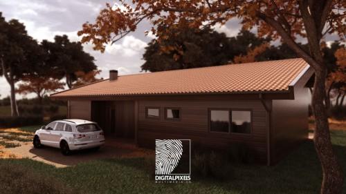 portfolio 11/51  - Visualização 3d Exterior Habitação Modular madeira