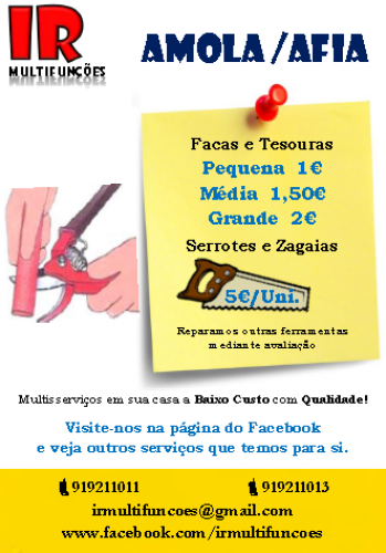 portfolio 2/2  - Oferta de Serviços de Afia de diversas ferramentas e utensílios domésticos.