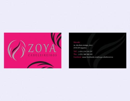 portfolio 1/7  - Cartões de visita Zoya Cabeleireiros