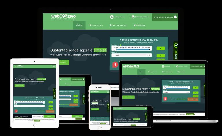 portfolio 4/8  - A Webco2zero é uma empresa que faz o cálculo da emissão co2 do seu site através do número de pageviews. Faz a plantação de ávores necessária para compensar essa emissão de co2. O seu site receberá o selo da webco2zero que comprove e certifica a prática sustentável da sua empresa.