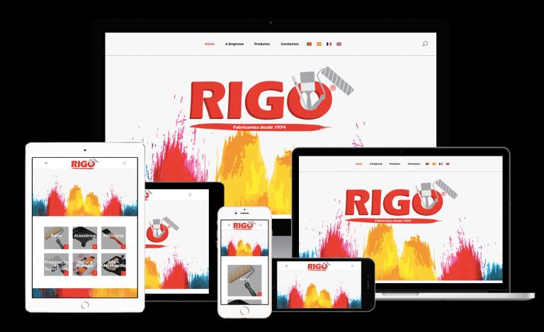 portfolio 6/8  - A Rigo foi fundada em 02 de Abril de 1974, a escassos dias da revolução que marcaria o destino de Portugal, como fabricante de rolos de pintura comercializando também outros acessórios como trinchas, pincéis, espátulas, lixas, fita e outros. Em 2017 a Laranja Digital reformolou a página da Rigo que hoje se encontra com um novo look.