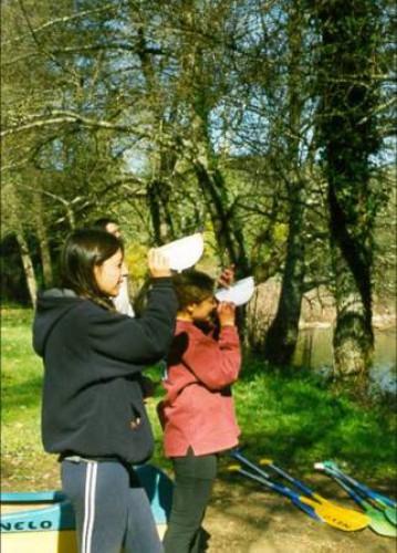 portfolio 3/3  - Alunos em trabalho de campo. Medir a largura de um rio, aplicando conhecimentos de trigonometria