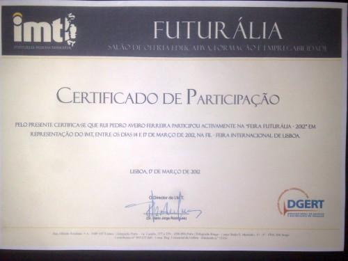 portfolio 2/3  - Certificado de Representação Institucional - Futuralia 2012