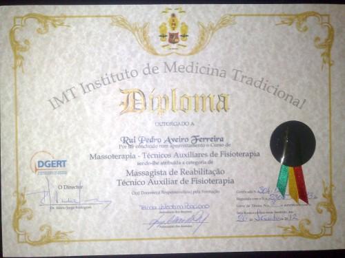 portfolio 1/3  - Diploma de Competências - Massoterapeuta e Tec. Aux. Fisioterapia