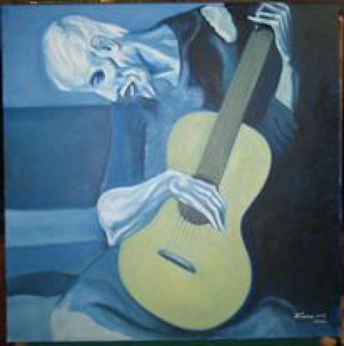 """portfolio 14/14  - Pintura a Óleo s/Tela; Reprodução da Obra de Picasso: """"O Velho Guitarrista Cego"""""""