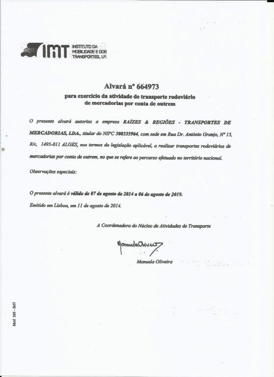 portfolio 3/6  - Alvará, para exercício de transportes rodoviário de mercadorias.
