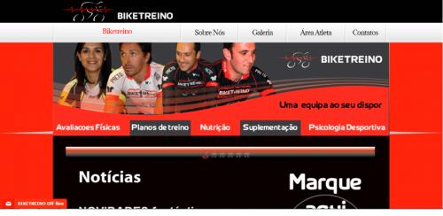 portfolio 49/62  - www.biketreino.pt   Desenvolvimento de Design Gráfico e WebSite