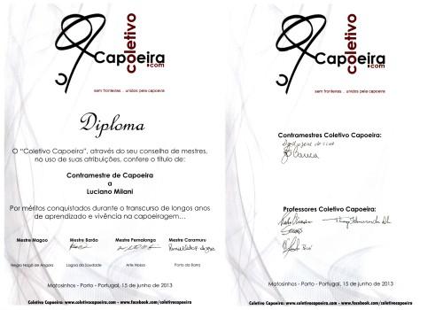 portfolio 5/5  - Diploma de Contra Mestre de Capoeira
