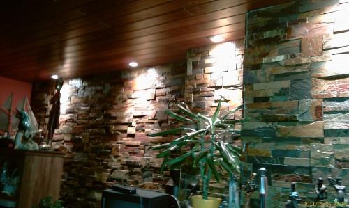 portfolio 1/68  - Revestir parede com pedra natural, teto em madeira